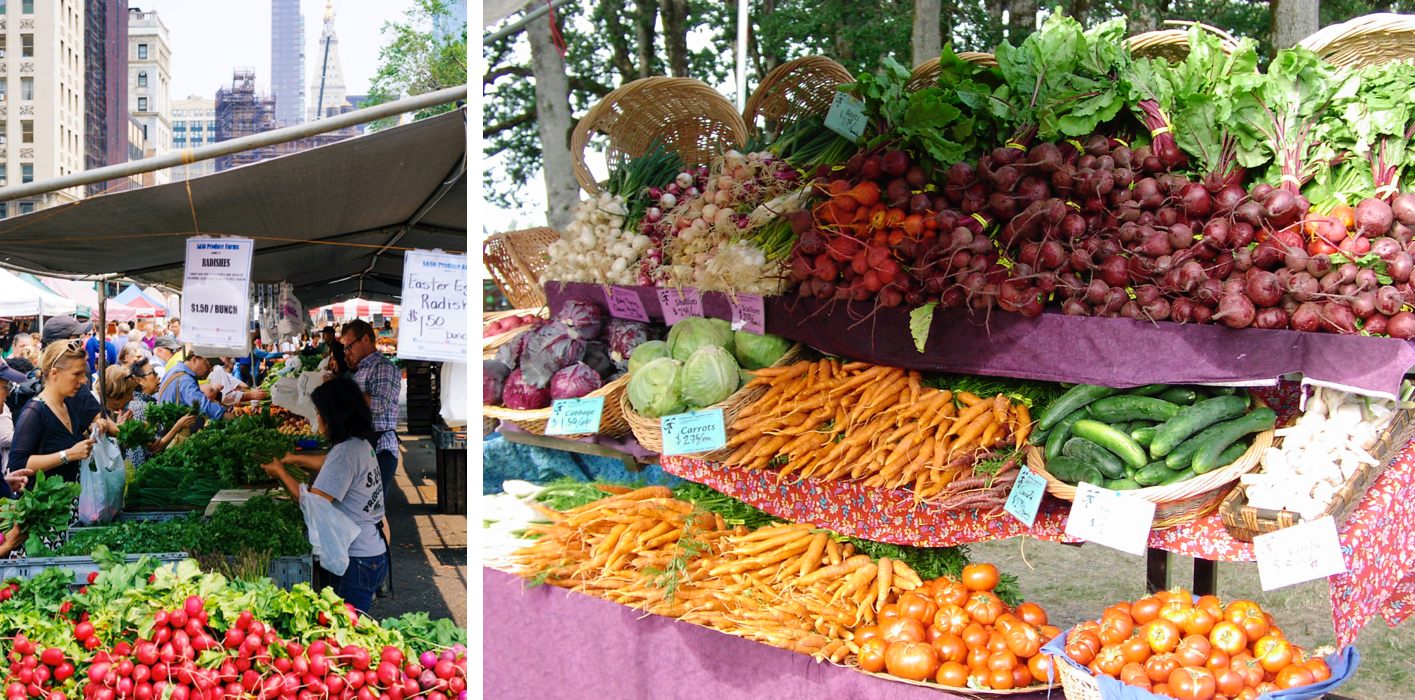 Two photos from farmers' markets. On the left, people are shown selecting fresh fruits and vegetables in a busy marketplace, with tall buildings rising above the market stands. On the right, a closeup of a farmers' market stand, showing enticing fresh vegetables like carrots, cucumbers, tomatoes, and beets.